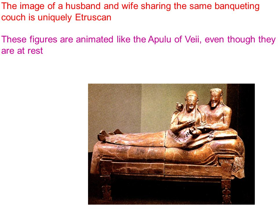 The image of a husband and wife sharing the same banqueting couch is uniquely Etruscan