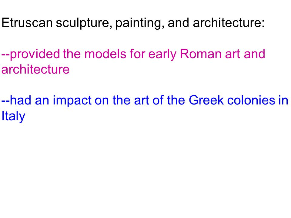Etruscan sculpture, painting, and architecture: