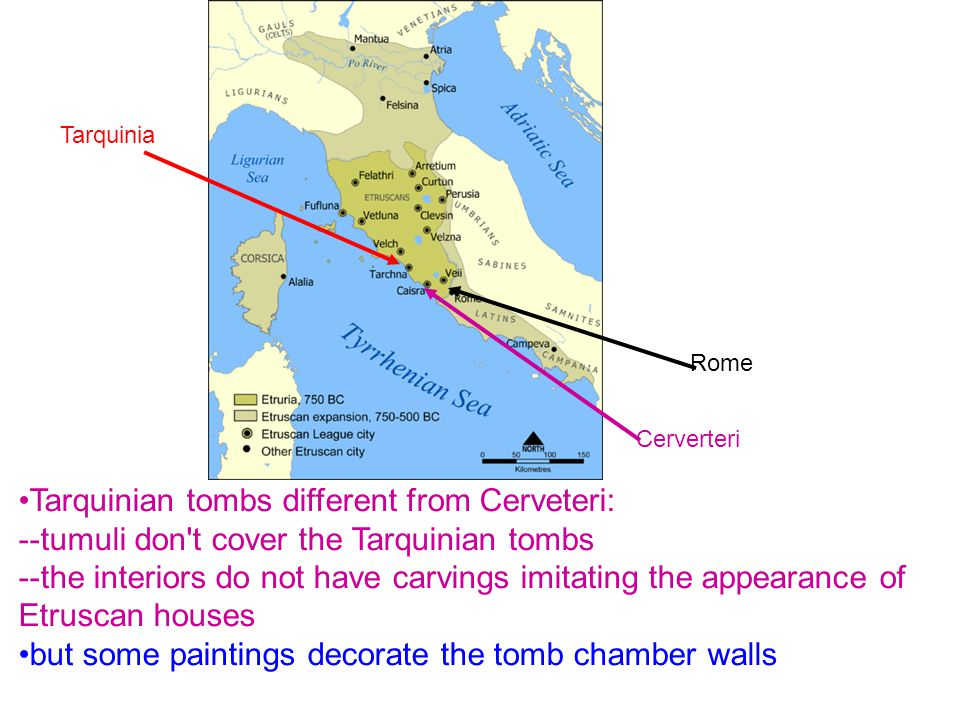 Tarquinian tombs different from Cerveteri: