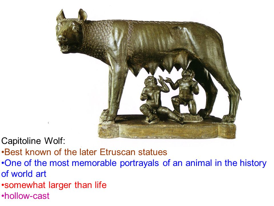 Capitoline Wolf: Best known of the later Etruscan statues. One of the most memorable portrayals of an animal in the history of world art.