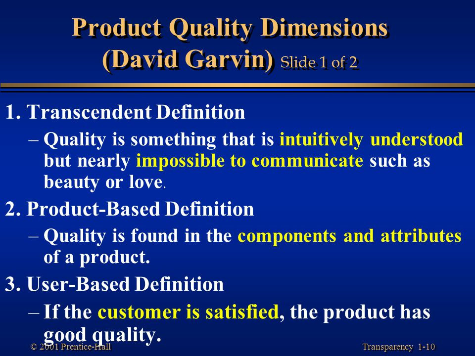 Product Quality Dimensions (David Garvin) Slide 1 of 2