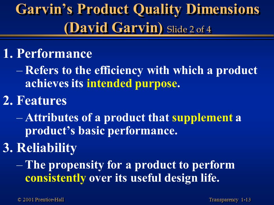 Garvin's Product Quality Dimensions (David Garvin) Slide 2 of 4