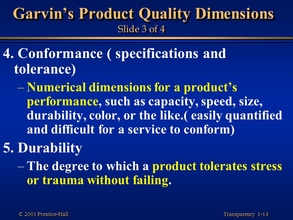 Garvin's Product Quality Dimensions Slide 3 of 4
