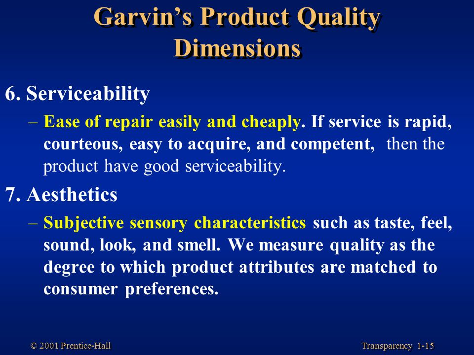 Garvin's Product Quality Dimensions