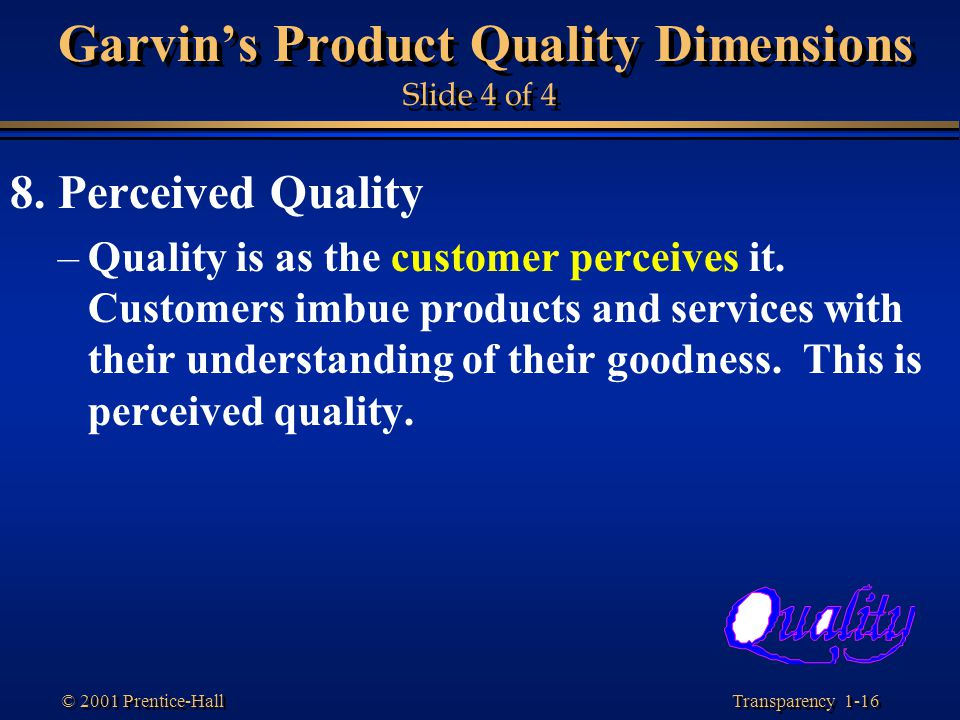 Garvin's Product Quality Dimensions Slide 4 of 4