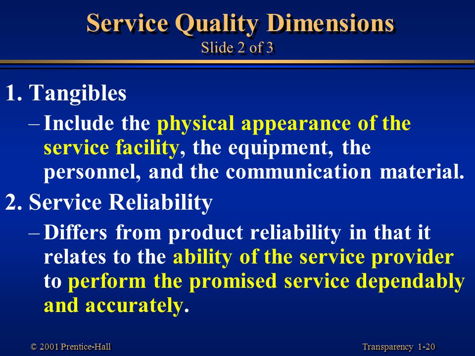 Service Quality Dimensions Slide 2 of 3