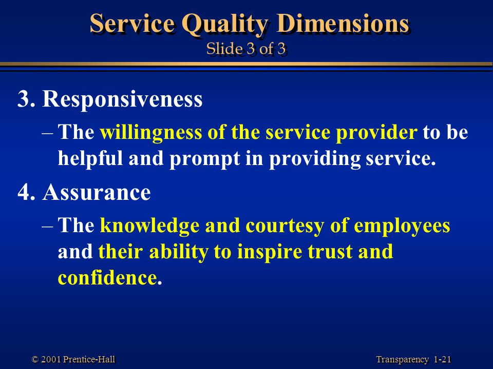Service Quality Dimensions Slide 3 of 3