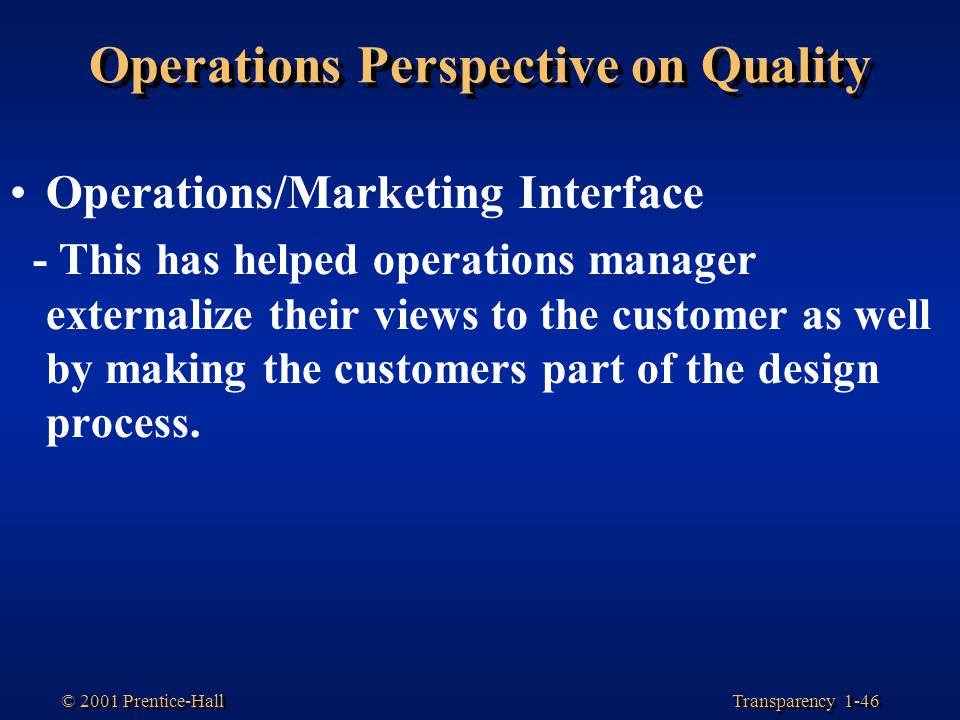 Operations Perspective on Quality