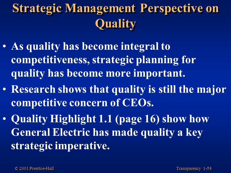 Strategic Management Perspective on Quality