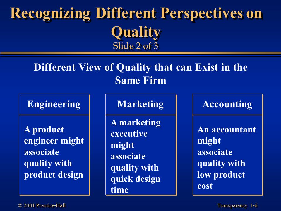 Recognizing Different Perspectives on Quality Slide 2 of 3