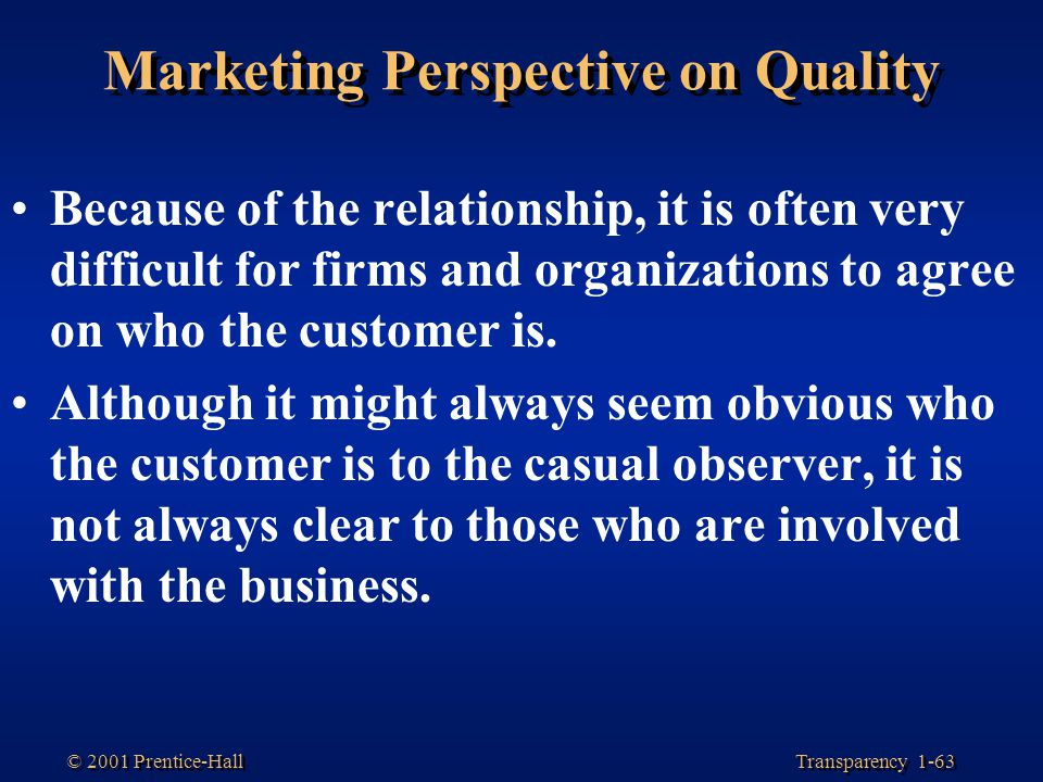 Marketing Perspective on Quality