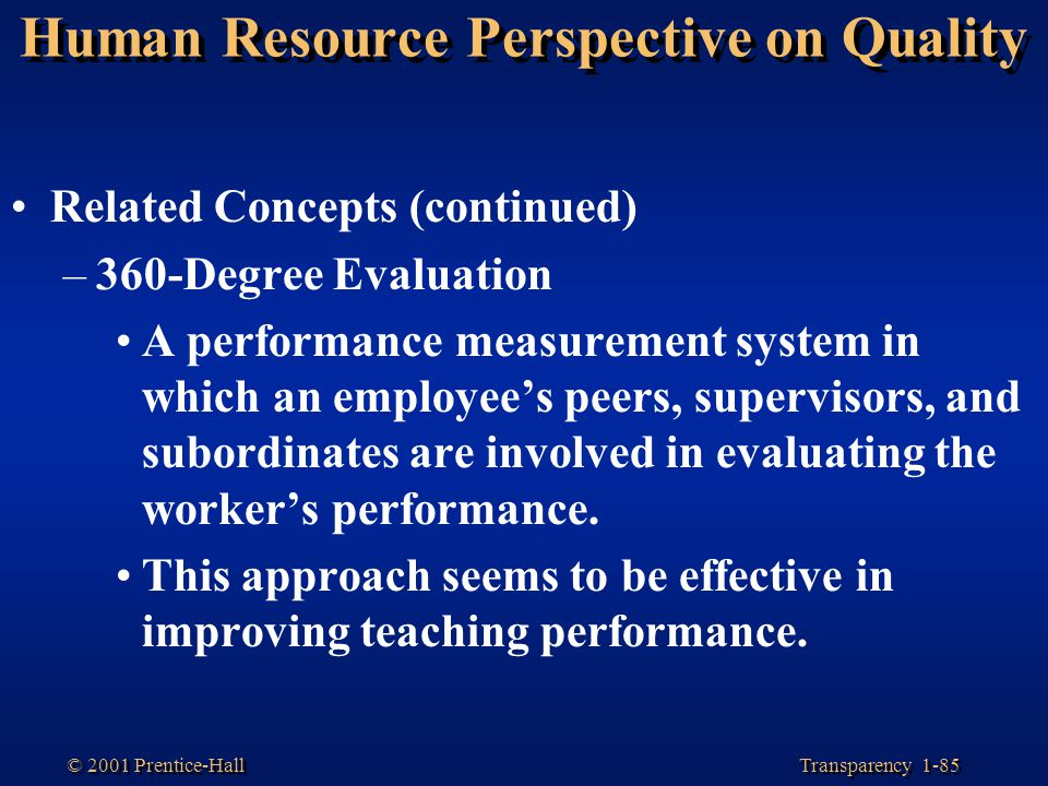 Human Resource Perspective on Quality