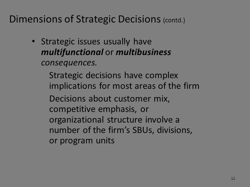 Dimensions of Strategic Decisions (contd.)