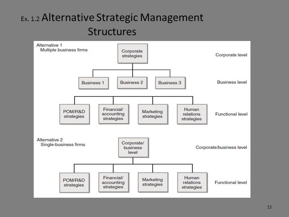 Ex. 1.2 Alternative Strategic Management Structures