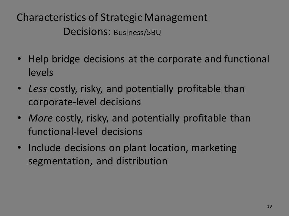 Characteristics of Strategic Management Decisions: Business/SBU