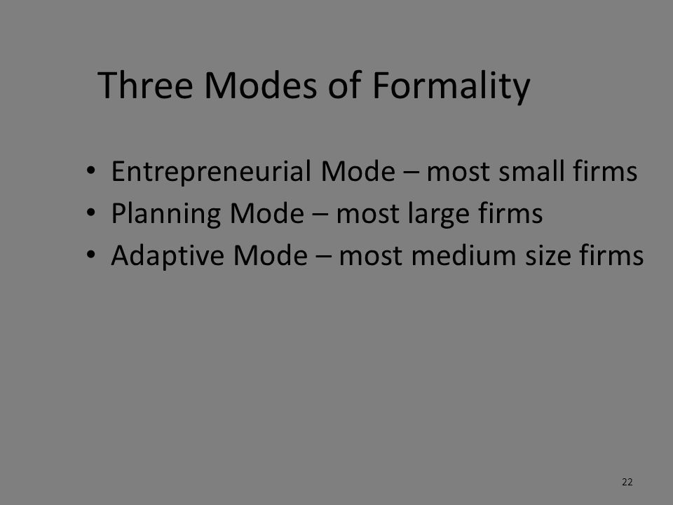 Three Modes of Formality