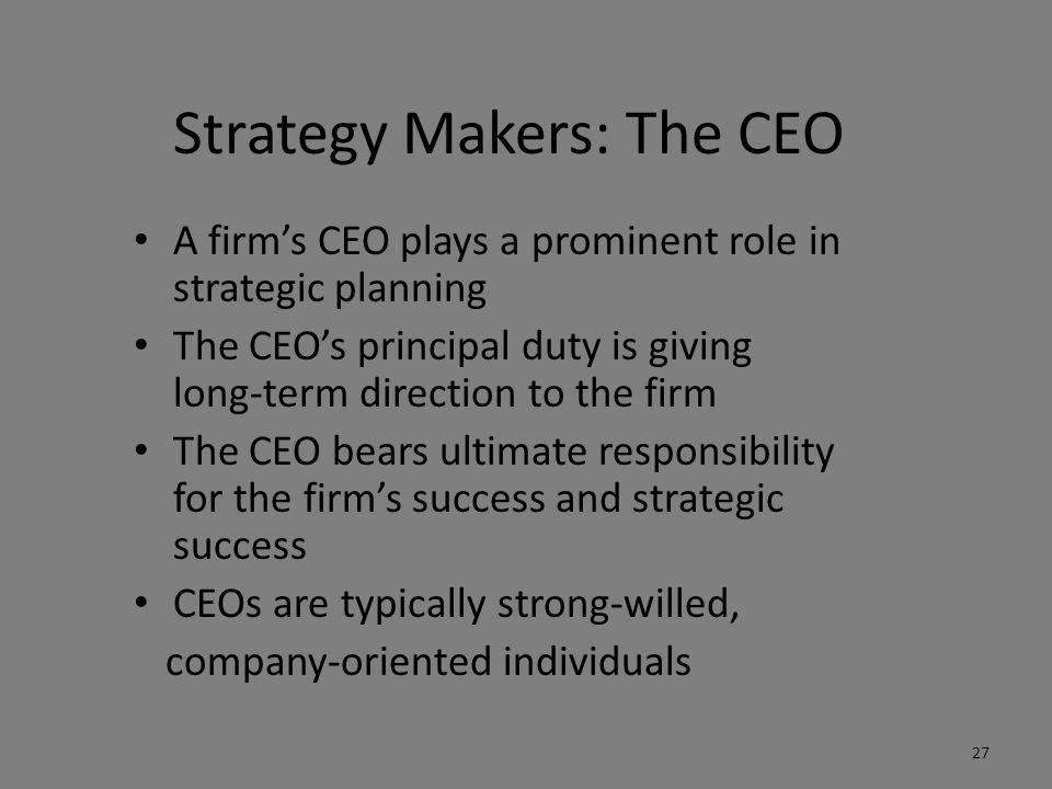 Strategy Makers: The CEO