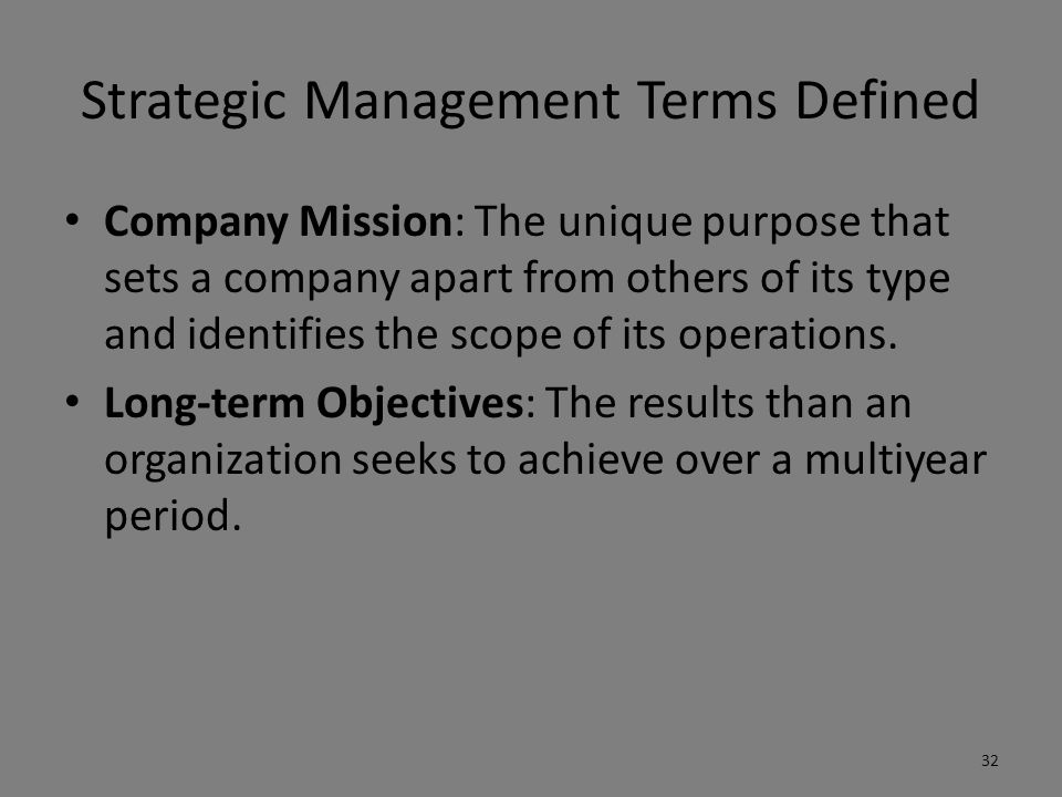 Strategic Management Terms Defined