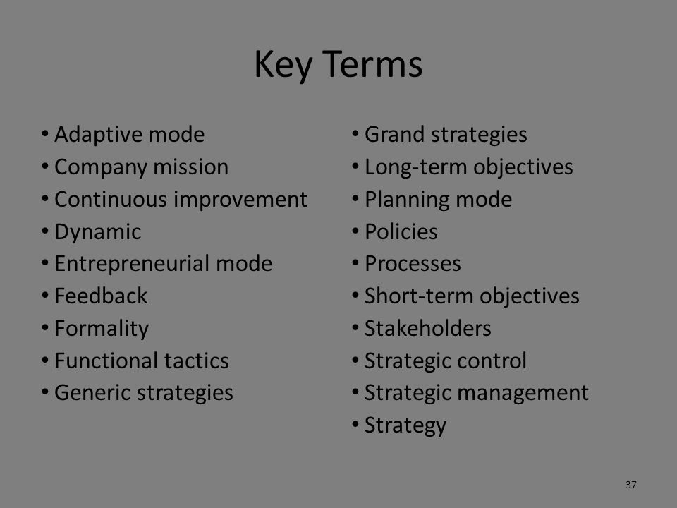 Key Terms Adaptive mode Company mission Continuous improvement Dynamic