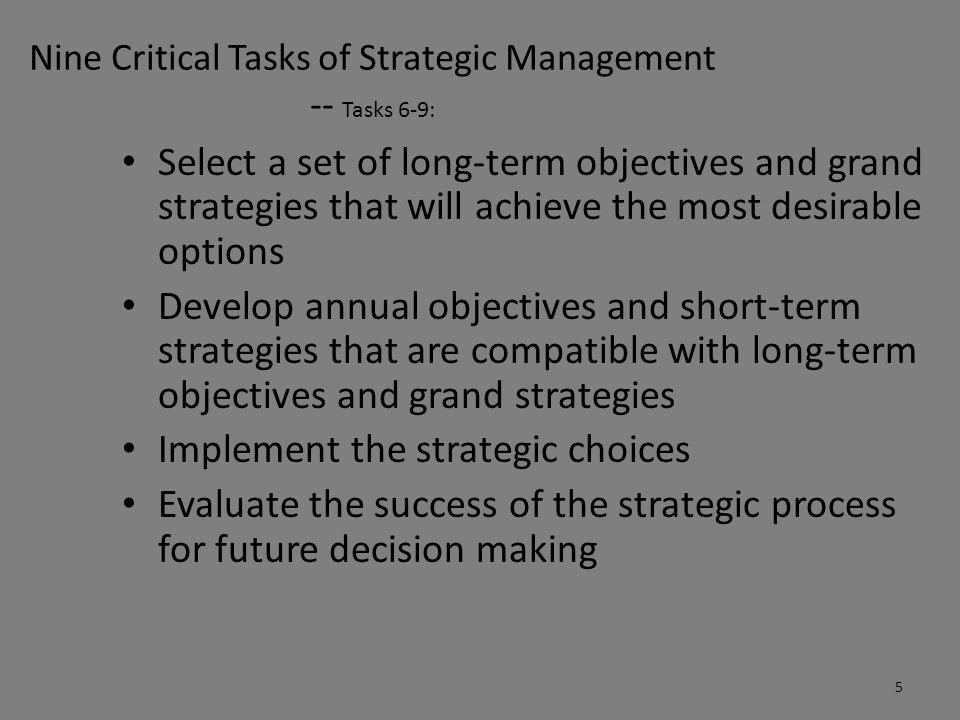 Nine Critical Tasks of Strategic Management -- Tasks 6-9: