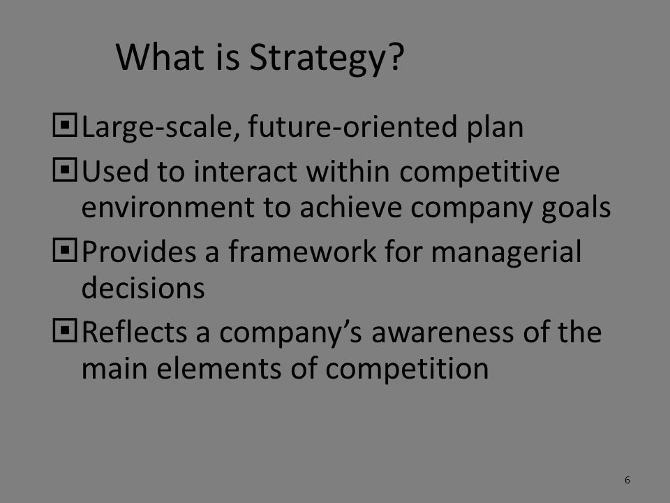What is Strategy Large-scale, future-oriented plan