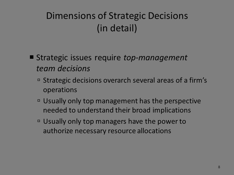 Dimensions of Strategic Decisions (in detail)