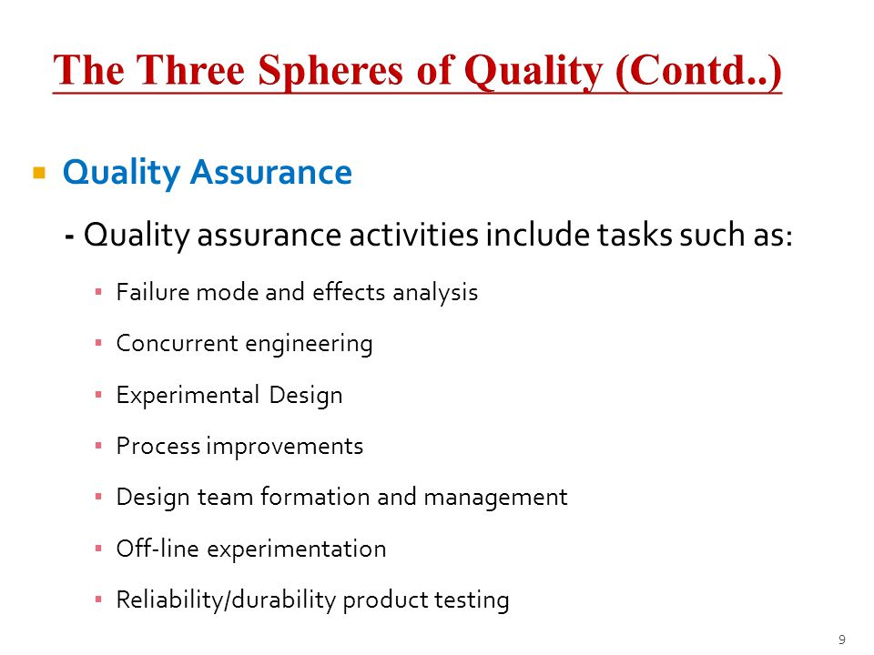 The Three Spheres of Quality (Contd..)
