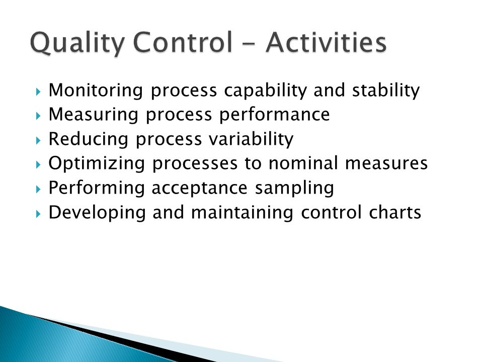 Quality Control - Activities