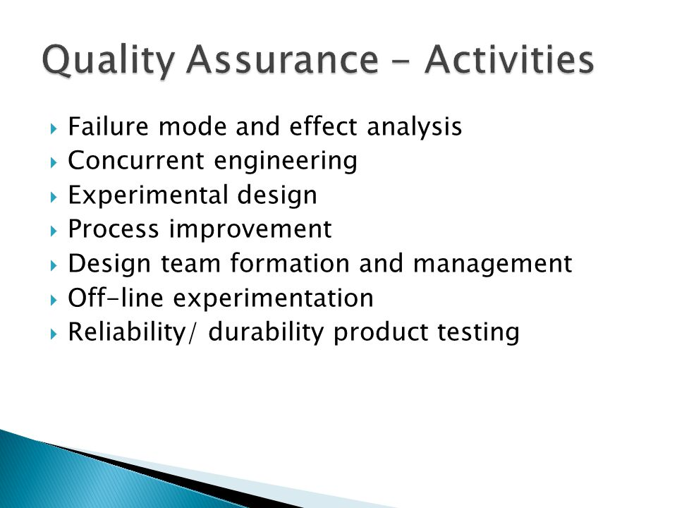 Quality Assurance - Activities