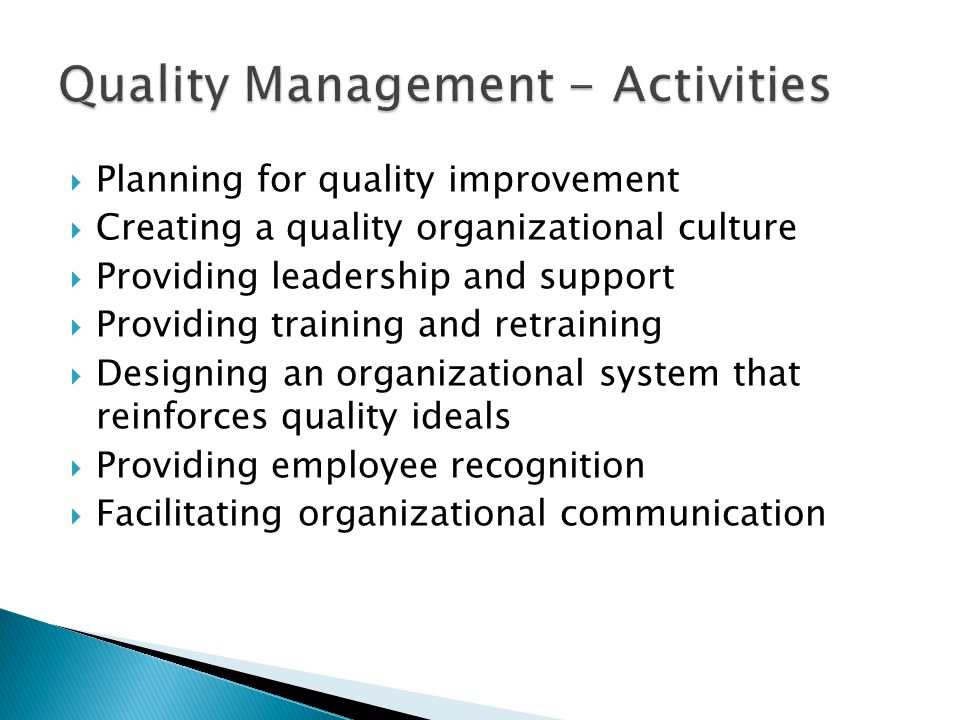 Quality Management - Activities