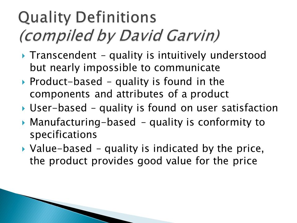 Quality Definitions (compiled by David Garvin)