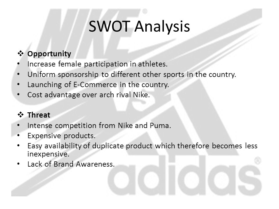 SWOT Analysis Opportunity Increase female participation in athletes.