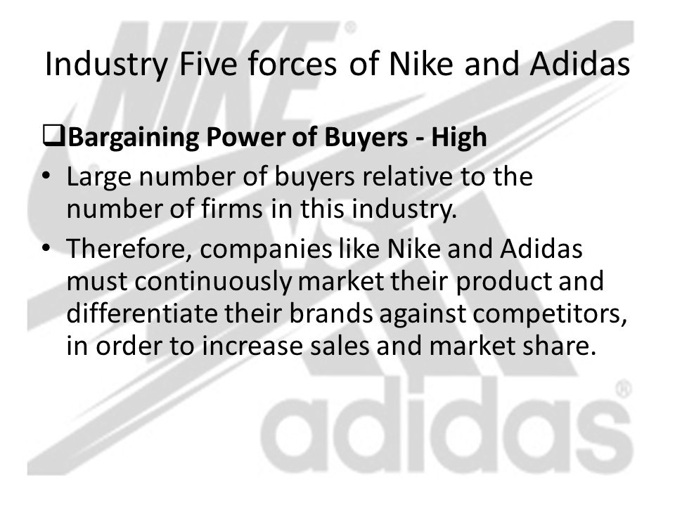 comparative analysis of nike and adidas Adidas is the second largest company who manufactures sporting goods all over the world it was established in 1920.