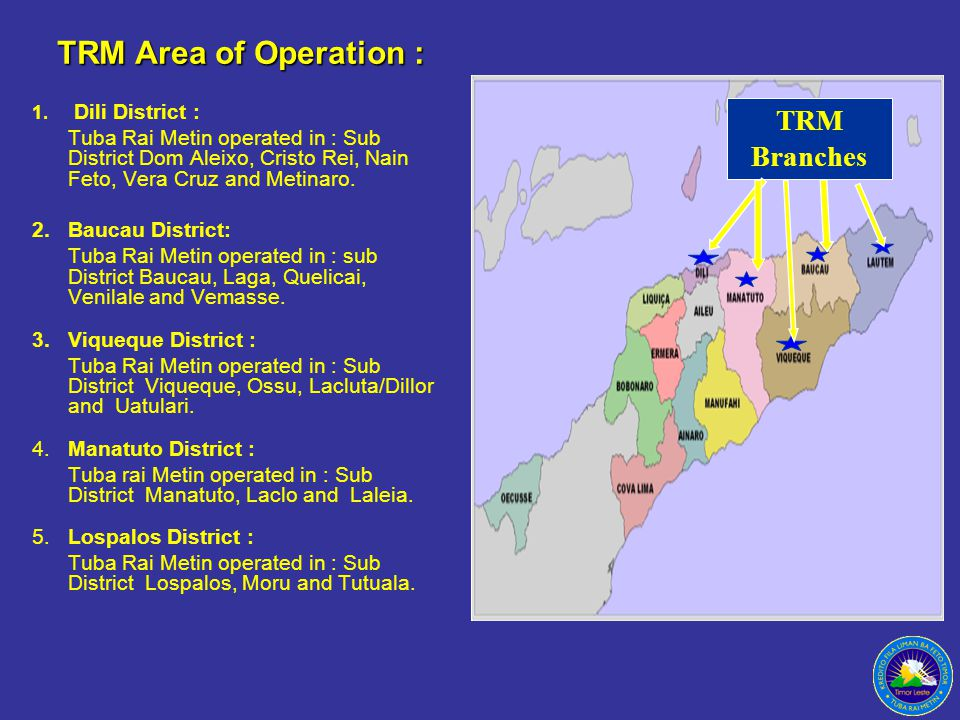 TRM Area of Operation : TRM Branches