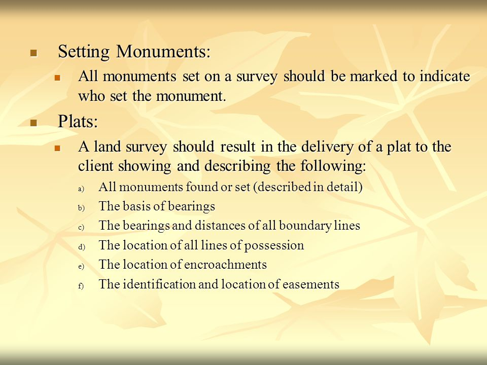 Setting Monuments: Plats: