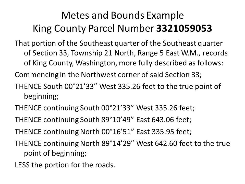 Metes and Bounds Example King County Parcel Number 3321059053