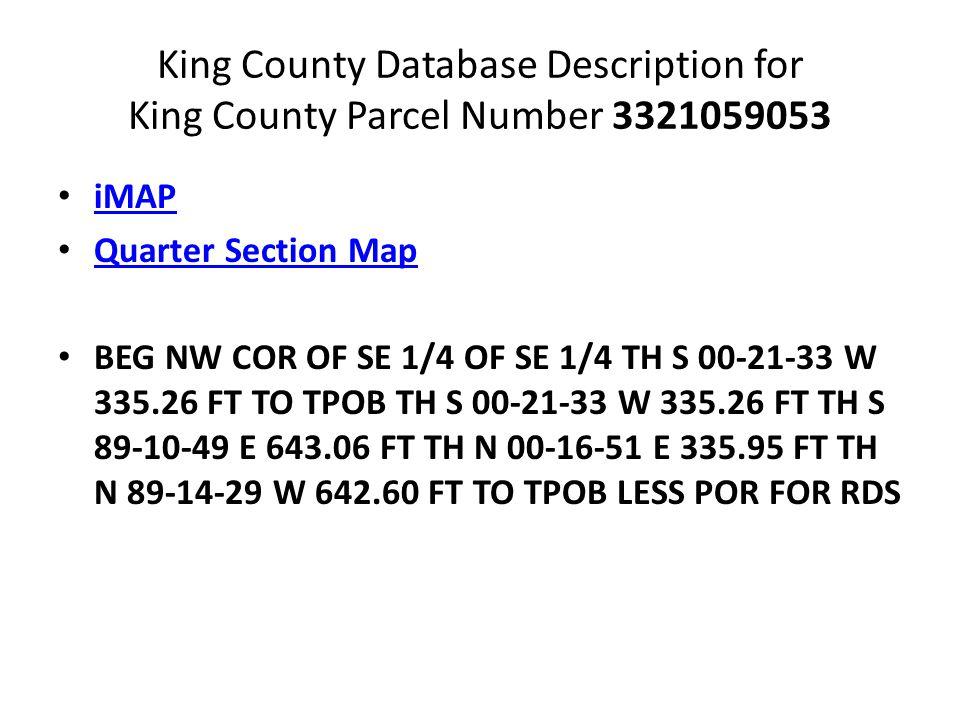 King County Database Description for King County Parcel Number 3321059053