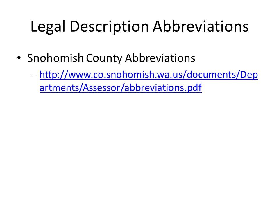 Legal Description Abbreviations