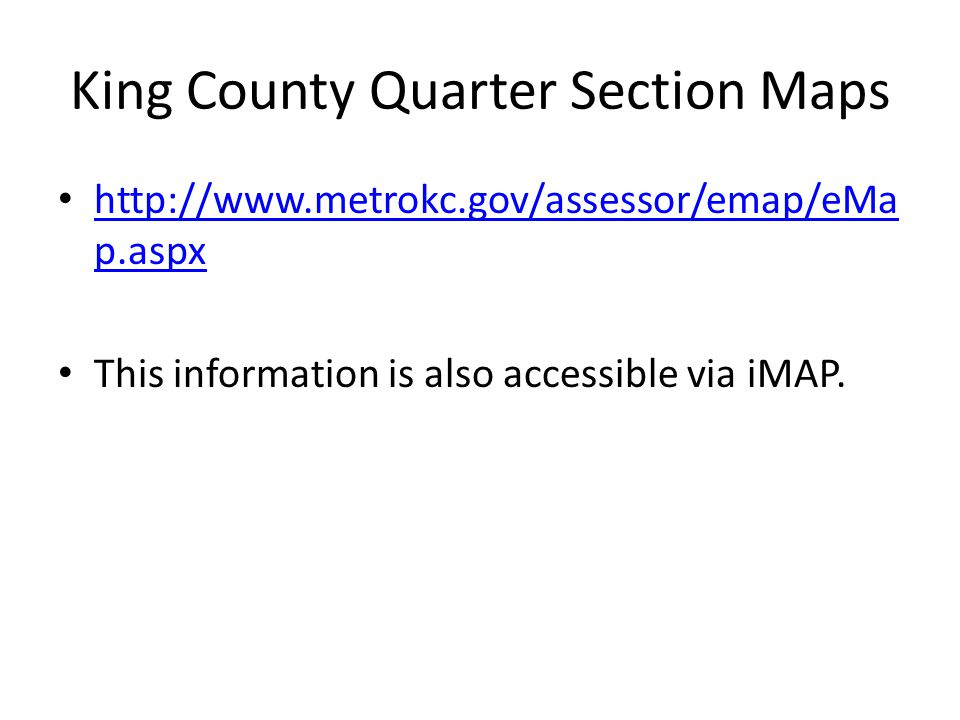 King County Quarter Section Maps