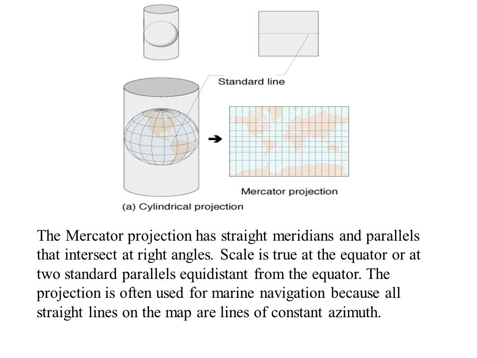 The Mercator projection has straight meridians and parallels that intersect at right angles.