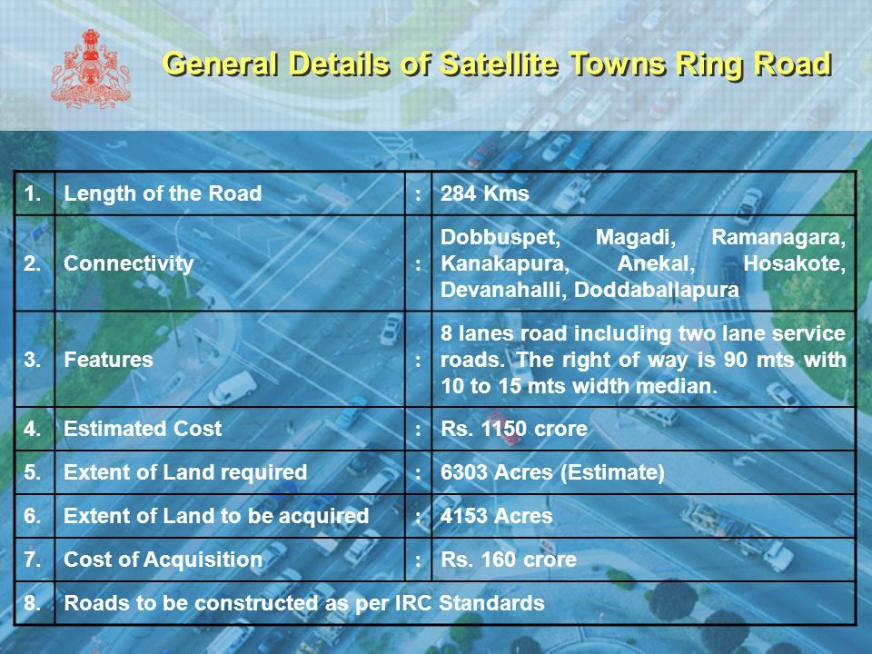 General Details of Satellite Towns Ring Road