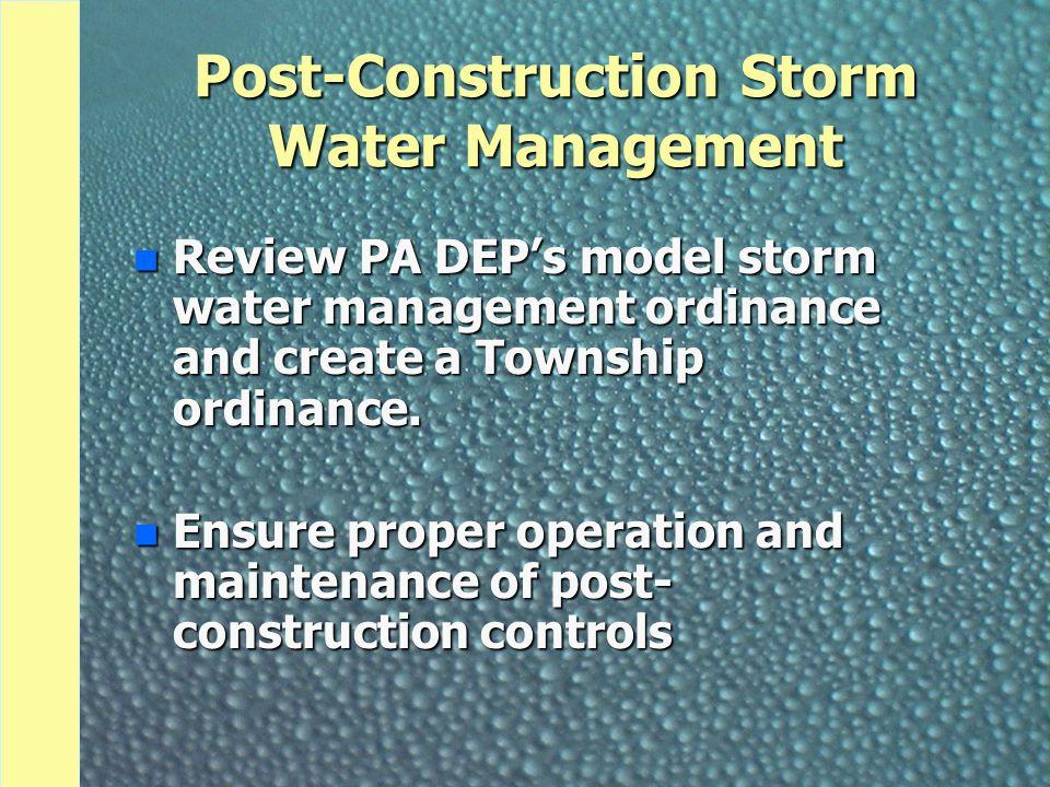 Post-Construction Storm Water Management