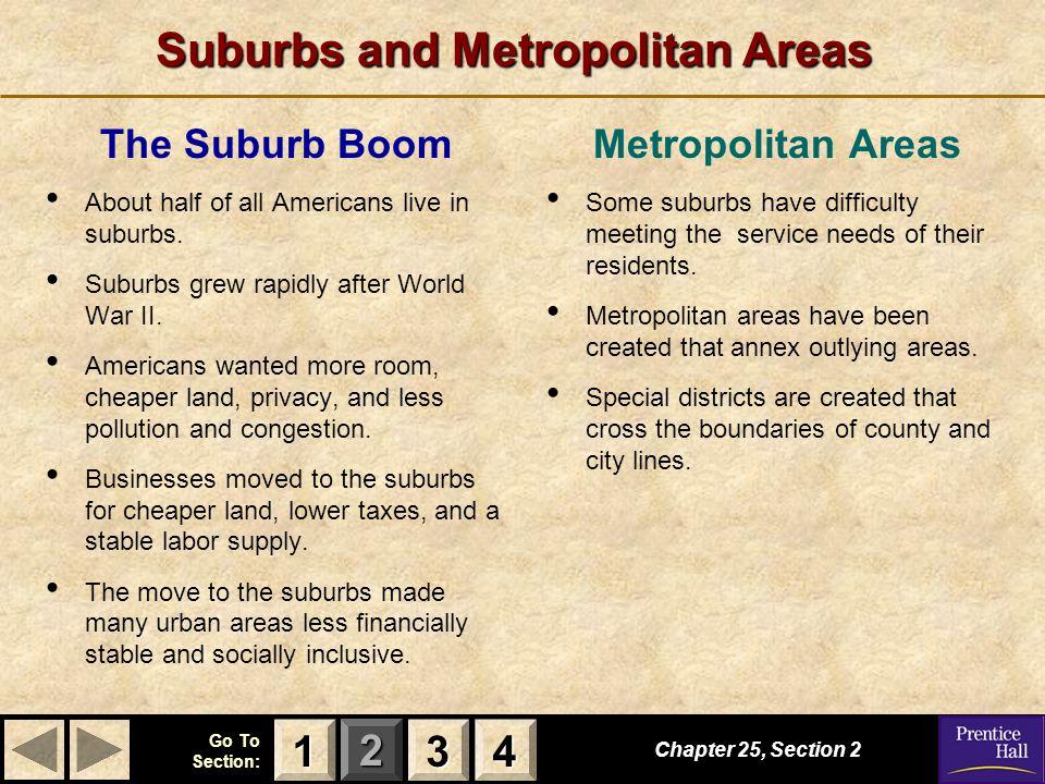 Suburbs and Metropolitan Areas