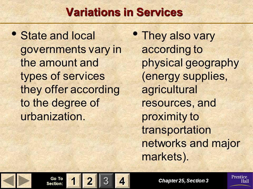 Variations in Services