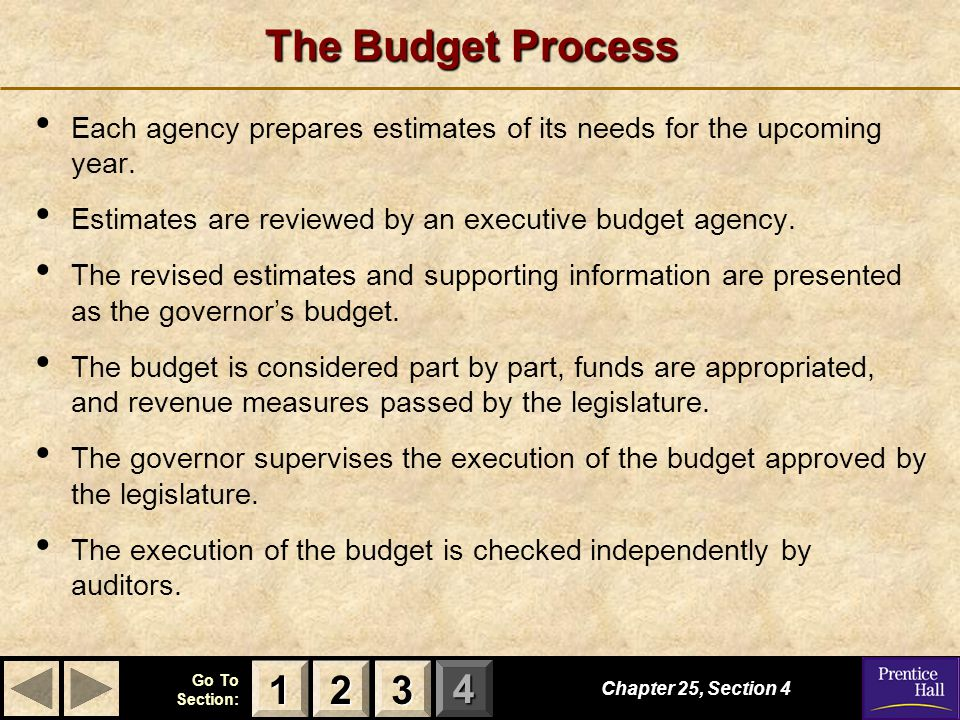 The Budget Process Each agency prepares estimates of its needs for the upcoming year. Estimates are reviewed by an executive budget agency.