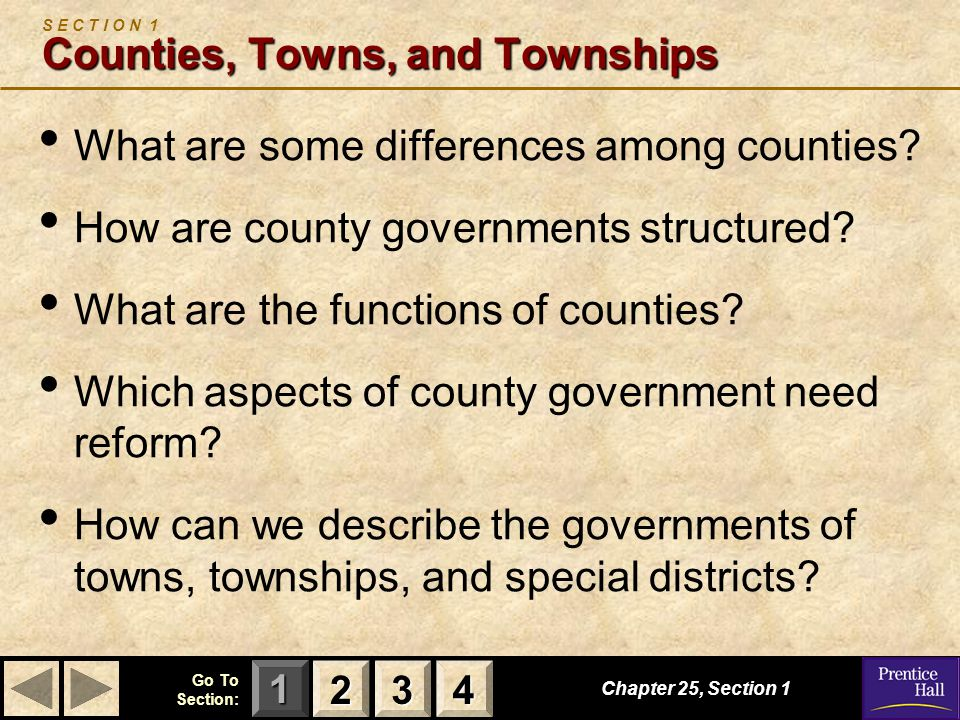 S E C T I O N 1 Counties, Towns, and Townships