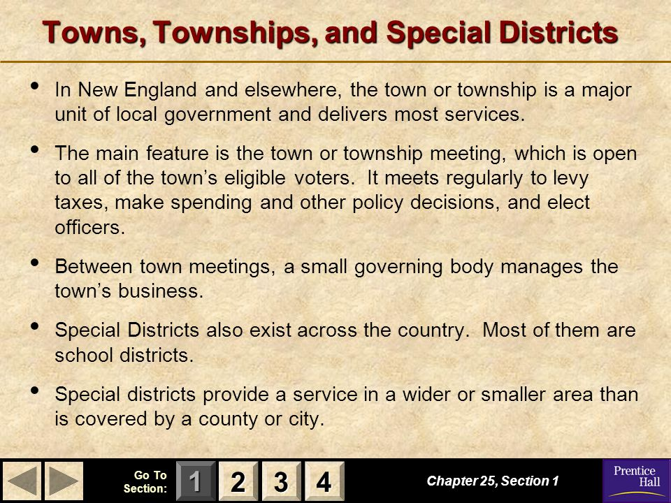 Towns, Townships, and Special Districts