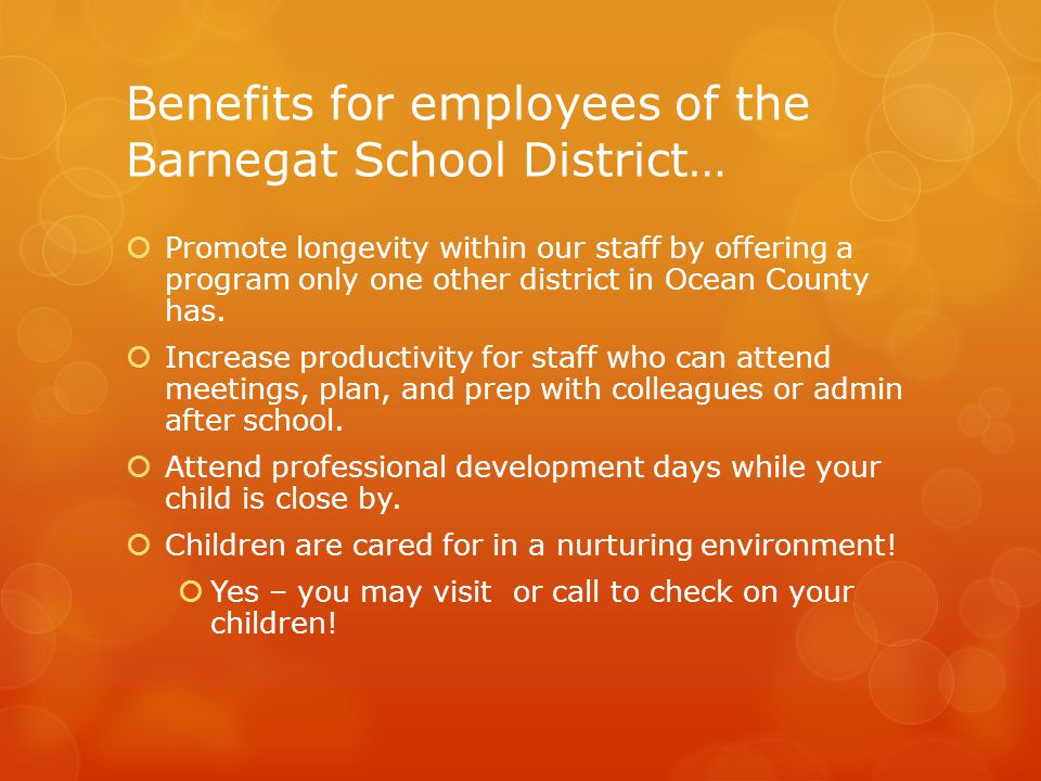 Benefits for employees of the Barnegat School District…