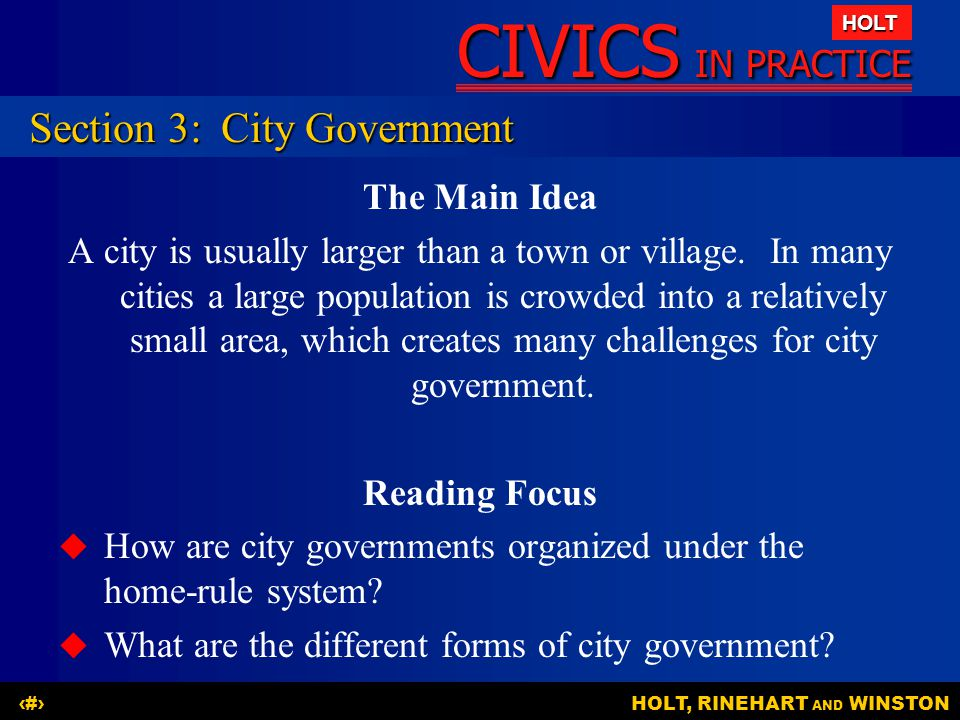 Section 3: City Government
