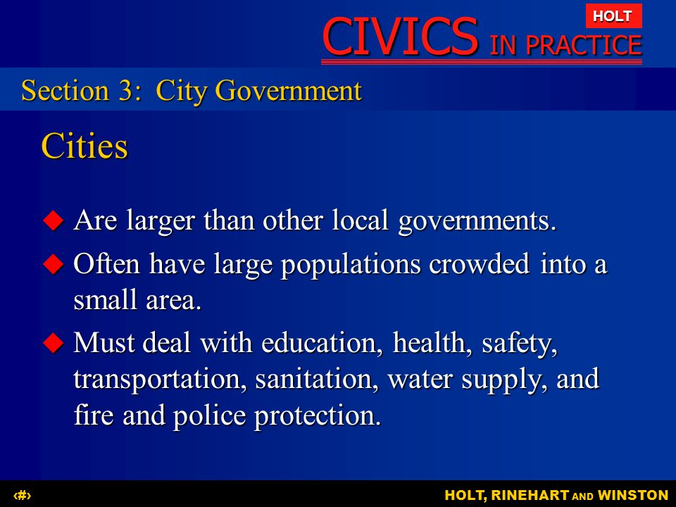 Cities Section 3: City Government